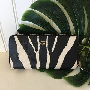 Coach Zebra Zip Checkbook Wallet